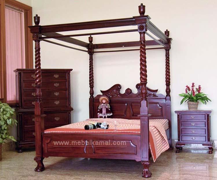 Tempat Tidur Dipan Kanopi Kayu Jati